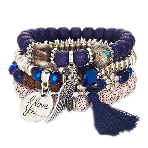 cengXY160h Bohemian Bracelet Female Carved Love Feather Tassel Bracelets for Women Jewelry Ethnic Vintage Bead Stone Charms ()
