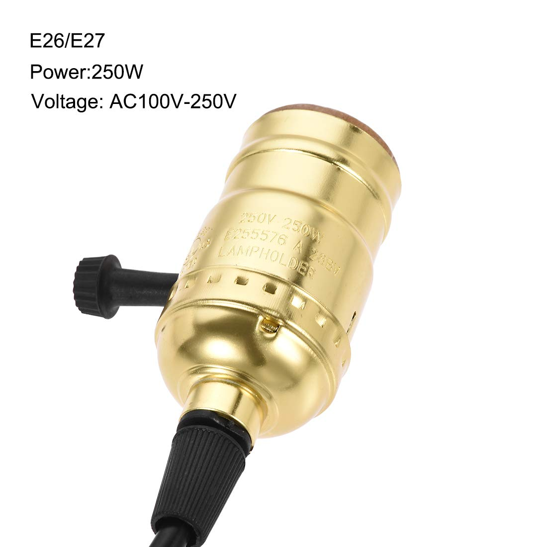 uxcell E26//E27 Pendant Light Kit Thread Bulb Holder Socket Ceiling Lamp Wall Mounted 1.2M Cable with Rotary Switch Gold Tone
