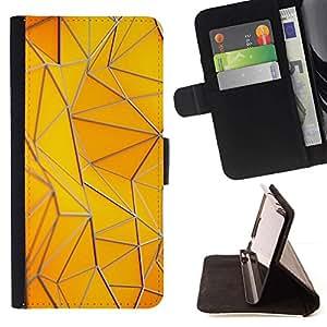 For Samsung ALPHA G850 Case , Motif Polygone bâtiment or jaune - la tarjeta de Crédito Slots PU Funda de cuero Monedero caso cubierta de piel