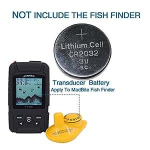 MadBite FX3000 Rastreador de peces inalámbrico con sensor Sonar, Sol fácil de leer pantalla LCD