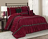 7 Piece CLARAITA Chic Ruched Pleated Comforter Set-Queen King Cal.King Size (King, Burgundy)