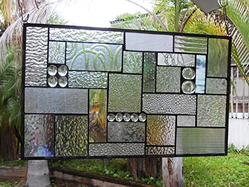 Stained Glass Window Panel, Crystal Clear Textures, Geometric Patchwork (Handcrafted Glass Suncatcher Stained)