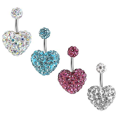HuayoRong 4Pcs Crystal Belly Button Ring Navel Rings Surgical Steel Body Piercing Jewelry 14G(1.6mm) (4Pcs Heart 14G=1.6mm) ...