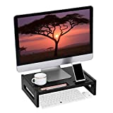 SONGMICS Bamboo Wood Monitor Stand Computer Riser with Storage Organizer Office Desk Laptop Cellphone TV Printer Desktop Container Black ULLD211BK