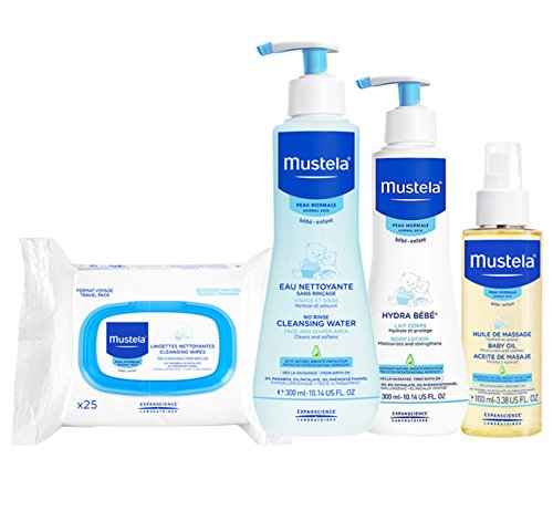 Mustela Baby Bonding Essentials Bundle, Baby Skin Care Gift Set, 4 Items (Treatment Acne Baby)
