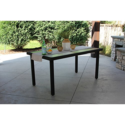 Rectangular Wicker Table (Single Rectangular Black Wicker Dining Table w/ Rec'd Glass & Storage Cover)