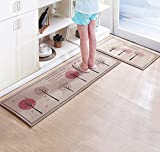 CarPet Chemical Fiber Kitchen Mats Long Absorbent Non-slip Bamboo Charcoal Cloth Rugs (Color : A, Size : 50cm80cm+50cm160cm)