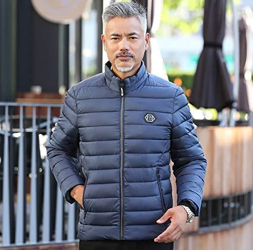 Rayas Con Para Abrigo Outwear Cargado Cuello Chaqueta Invierno Gruesa Edad Yaxuan Azul Padre Soporte Algodón Mediana Cálido De El Hombre xRt07Y