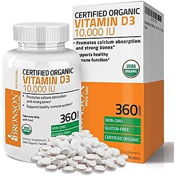 Bronson Vitamin D3 10,000 IU Certified Organic Vitamin D Supplement, Non-GMO, USDA Certified, 360 Tablets