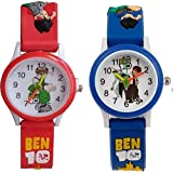 Shocknshop Analogue White Dial Red Blue Boy's and Girl's Wrist Watch Pack of 2