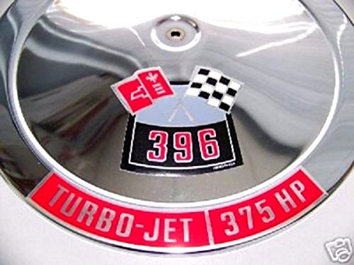 Decal 1982 (2 pc SET OF CHEVROLET 396 ci CROSSED FLAGS And 375 hp TURBO-JET AIR CLEANER TOP LID DECAL'S)