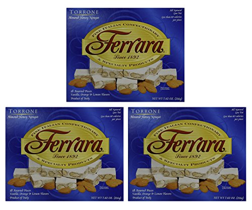 Torrone Nougat Candy, 18 Assorted Pieces (Ferrara) NET WT 7.62 216g (Pack of 3)