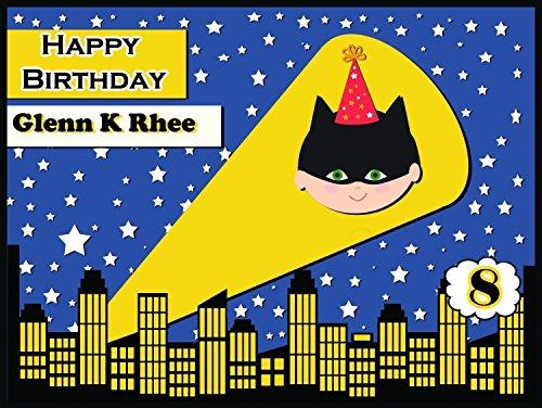 [Custom superhero Theme Birthday Poster - size 36x24, 48x24, 48x36; Pesonalized superhero Happy Birthday Party Decorations Banner Wall Décor, Bat Boy Handmade Party Supply Poster] (Smiley Movie Mask)