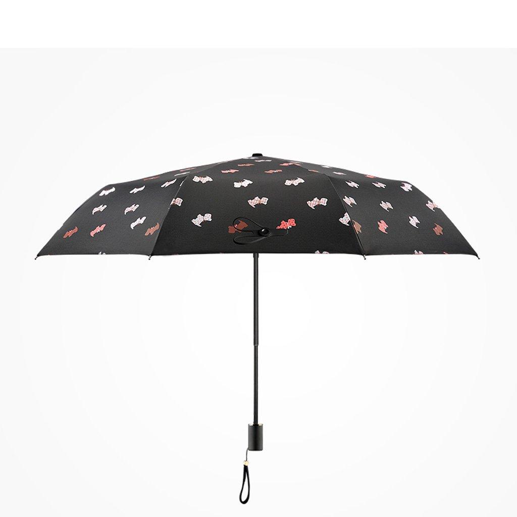 傘 – 防風強化Animal Sunny傘折りたたみ太陽傘ビニール紫外線対策3折り傘  ブラック B075716D91