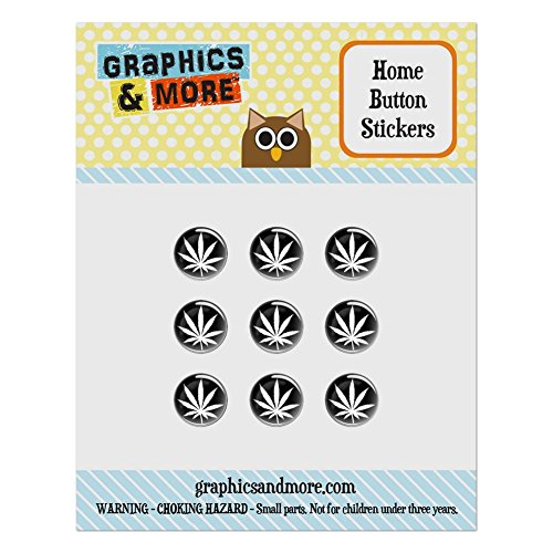 Set of 9 Puffy Bubble Home Button Stickers Fit Apple iPod Touch, iPad Air Mini, iPhone 4/4s 5/5c/5s 6/6s Plus - Marijuana Pot Weed - Marijuana Leaf Black