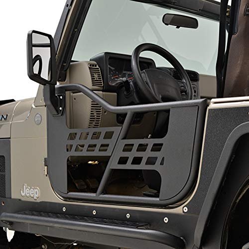 EAG Safari Steel Tubular Door with Side View Mirror Fit for 97-06 Jeep Wrangler TJ