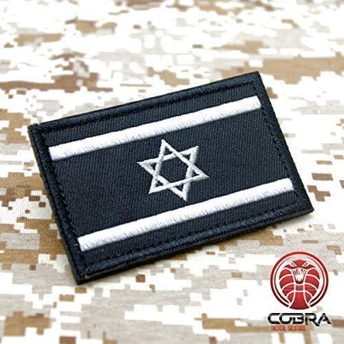 Cobra Tactical Solutions Military Besticktes Patch Israel Israeli Schwarze Flagge mit Klettverschluss f/ür Airsoft//Paintball f/ür Taktische Kleidung//Rucksack