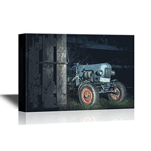 - wall26 - Canvas Wall Art - Blue Oldtimer Farming Tractor Standing Next to a Wooden Hut at Night with Red Painted Tires - Gallery Wrap Modern Home Decor | Ready to Hang - 16x24 inches