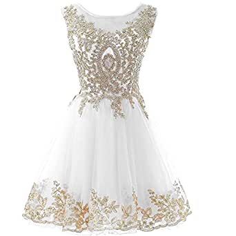 Plus Size Gold Lace Beaded Short Bateau Prom Dress Homecoming Gowns Ivory US 18W