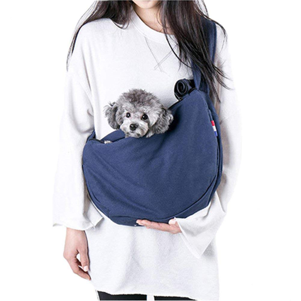 Dog Sling Carrier,Pet Puppy Bag Hands Free Kitty Rabbit Small Animals Shoulder Carry Handbag Front Pack,with Adjustable Strap,Pet Travel Accessories,Blue