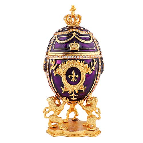 QIFU-Hand Painted Enameled Elegant Purple Faberge Egg Style Decorative Hinged Jewelry Trinket Box Unique Gift for Home ()