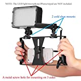 AWLux Phone Camera Video Cage Stabilizer Rig Lightweight And Sturdy With Multiple Mounting Lighting And Microphone Slider, Dolly Tripod Attachment + Adjustable Macro Film Phone Holder Clip