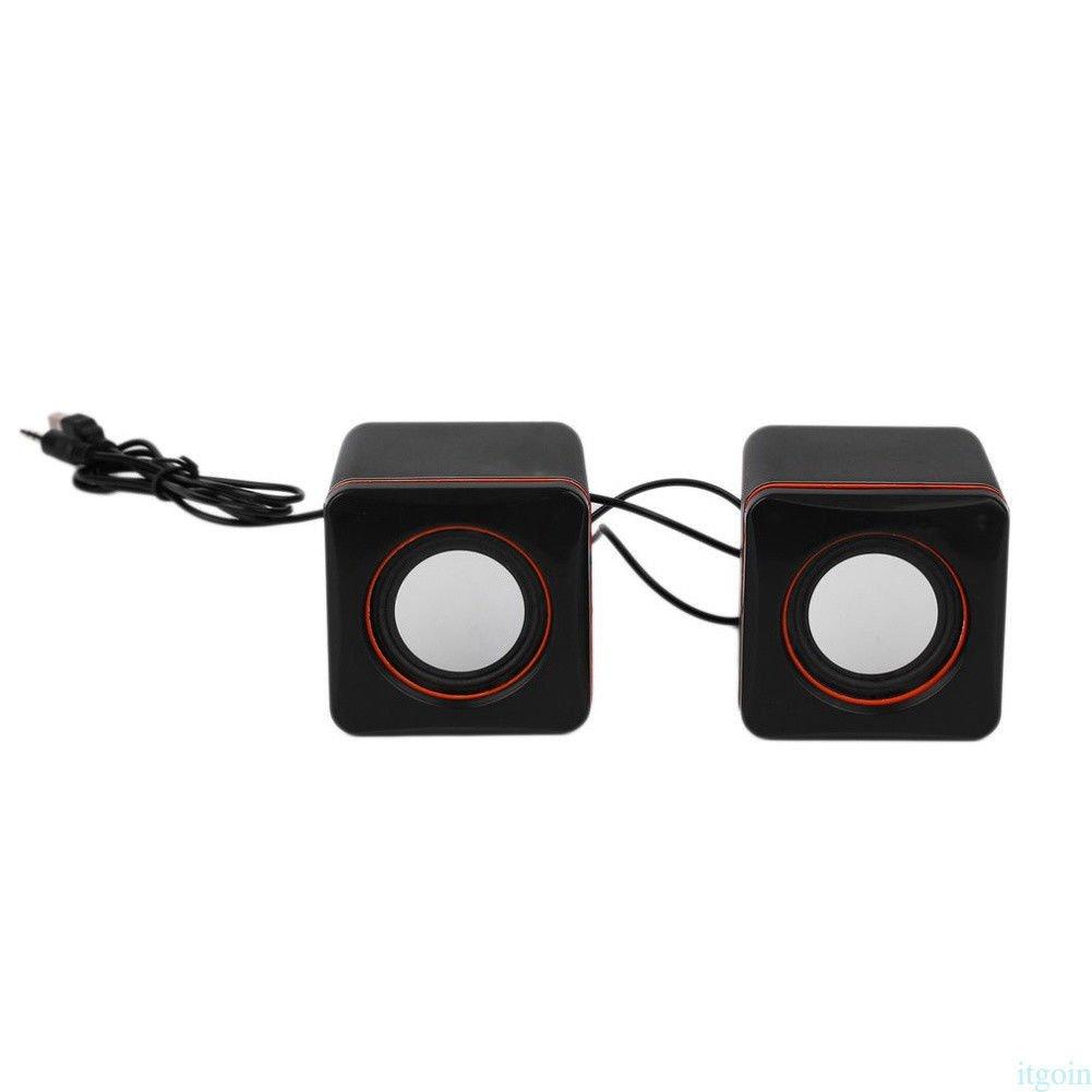 FidgetFidget Subwoofer Stereo Heavy Bass Speaker Mini DC 5V Square Wired USB for MP3/4 Laptop
