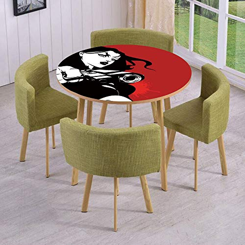 (Round Table/Wall/Floor Decal Strikers/Removable/Strong Iconic Warrior Lady Character Holding a Gun Female Detective Weapon Image Print/for Living Room/Kitchens/Office)