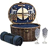 Unique Willow Picnic Basket for 2 Persons, Natural Wicker Picnic Hamper with Service Set and Insulated Cooler Bag - Best Gifts for Fathers Day
