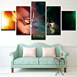 [LARGE] Premium Quality Canvas Printed Wall Art Poster 5 Pieces / 5 Pannel Wall Decor The Flash VS Arrow Painting, Home Decor Pictures - With Wooden Frame