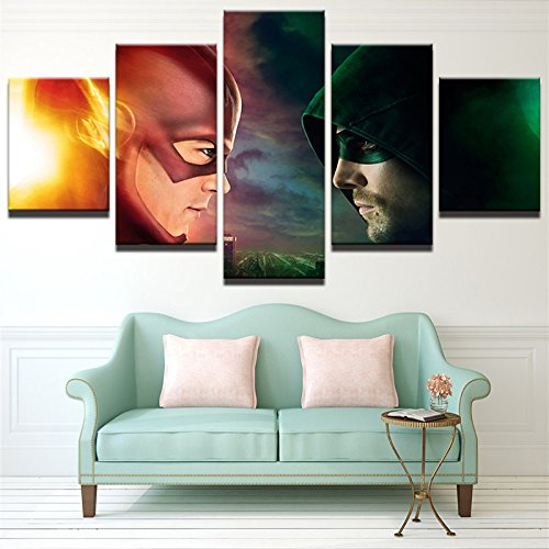 [LARGE] Premium Quality Canvas Printed Wall Art Poster 5 Pieces / 5 Pannel Wall Decor The Flash VS Arrow Painting, Home Decor Pictures - With Wooden Frame by PEACOCK JEWELS