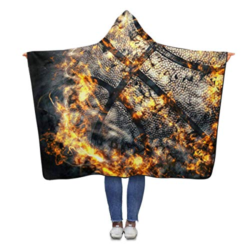 Basketball Hooded (InterestPrint Basketball Fire Hooded Throw Blanket 80 x 56 inches Adults Girls Boys Polar Fleece Blankets Throw Wrap)