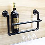 Y-Nut Water Pipe Wine Bottle Holder, Vintage Wall-Mounted Wine Rack, Cabinet Champagne Bottle Storage Shelf, Metal Iron Water Pipe Wine Rack, Holds 4 Wine Bottles