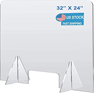 """Plexiglass Barrier Divider Protective Plastic Shield Freestanding Clear Acrylic Sneeze Guard for Counter Desk Office Nail Salon with Transaction Window (32""""W x 24""""H)"""