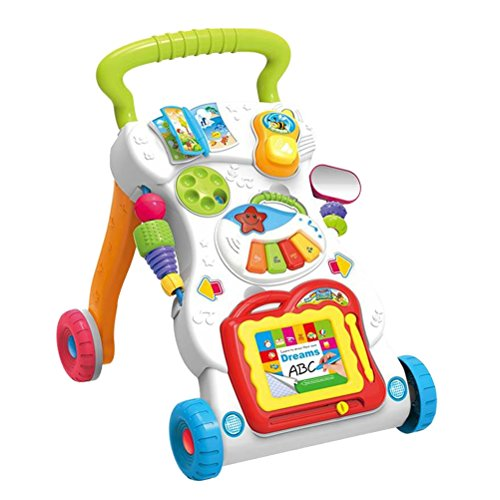 STOBOK Baby Kids Walkers Toy Cartoon Walker Stroller Multifuncional Baby Toddler Musical Toy