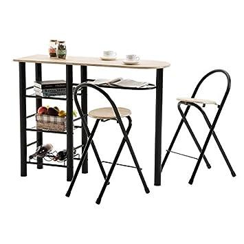Ensemble Style Avec Table Haute De Bar Mange Debout Comptoir Et 2