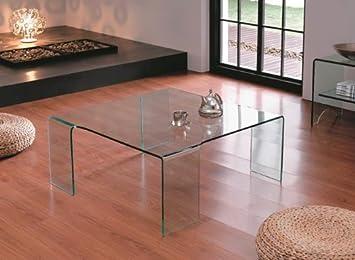 Interiorsonline Glass Large Square Coffee Table On 4 Legs Amazonco