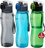 boys sports bottle - Sports Water Bottle - Milton Flip Top One-Click Open Tritan Plastic Reusable Leakproof 25 Oz 2-pack Leak Free Large Wide Mouth Big Drink Bottle For Bike Cycling Camping Hiking Gym Yoga (3 Color Set)