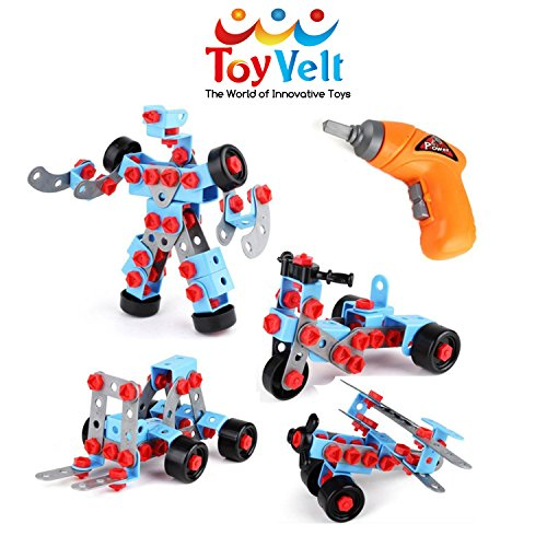 ToyVelt STEM Learning Take apart Educational Construction Engineering w ELECTRIC Toy DRILL Building Blocks Set - for 3, 4 and 5+ Year Old Boys & Girls. - The Best Toy Gift for Kids Ages 3 - 12 yrs old (Best Valentine Gift For Boys)