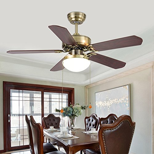 Price comparison product image RainierLight Simple and Classic Ceiling Fan LED Light with Remote Control for Living Room / Bedroom / Restaurant with 5 Wood Leaves 42-Inch