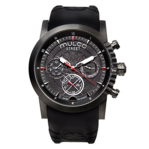 Mulco Street London Swiss Multifunction Movement Men's Watch | Analog Display with White and Red Accents | Black Watch Band | Water Resistant Stainless Steel Watch | MW3-15097-025