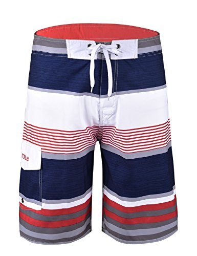 (Nonwe Men's Stripe Straight Lightweight Beach Shorts Half Pants with Lining Red Striped with White)