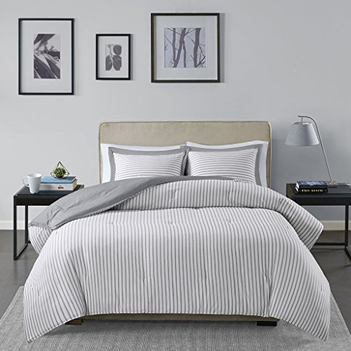 Madison Park Essentials Hayden Ultra Soft Reversible Striped Hypoallergenic Down Alternative Comforter Set Bedding, King/Cal King Size, Grey 3 Piece