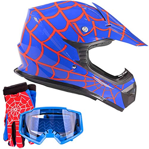 Youth Kids Offroad Gear Combo Helmet Gloves Goggles DOT Motocross ATV Dirt Bike Motorcycle Blue Spiderman - XL