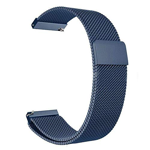 Folsom Quick Release Watch Strap Milanese Magnetic Stainless Steel Watch Band 20mm 22mm 24mm (Blue, 24)