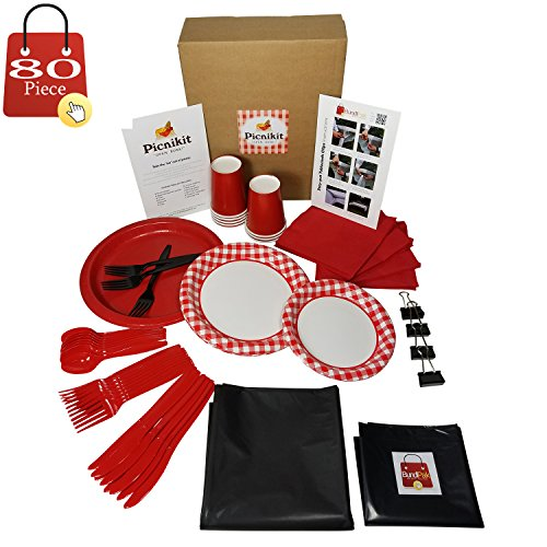 80 Piece Premium Picnic Kit Serves 8 (Gingham Black) All You Need For Hassle Free Picnics Includes Dinner, Appetizer Plates, Cups, Spoons, Forks, Knives, Napkins, Tableclips, Tablecover & Garbage Bag