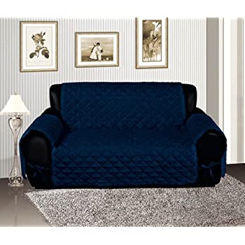 Navy Blue Quilted Micro Suede Pet Dog Furniture Sofa Slipcover Protector  Throw