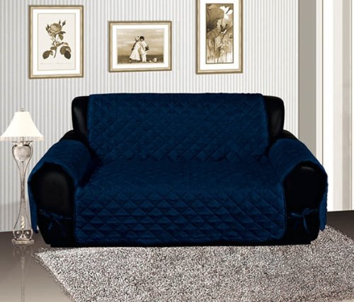 Navy Blue Quilted Micro Suede Pet Dog Furniture Sofa