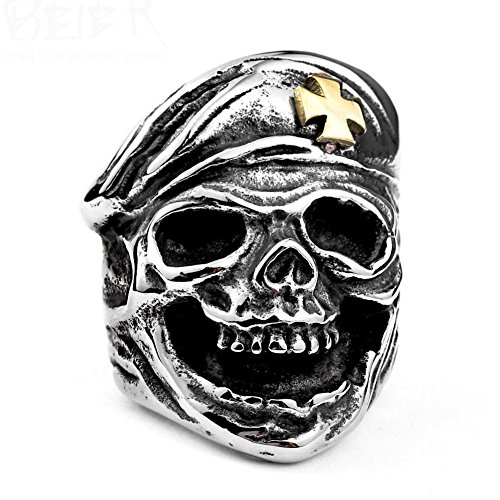LILILEO Jewelry Titanium Steel Retro Gold Cross Cap Skull Finger Ring For Men's Rings