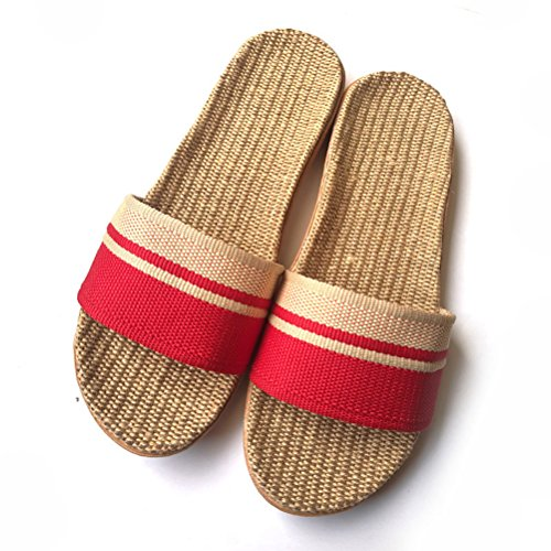 Sandals Indoor Summer Unisex Red AODEW Skidproof Slippers Striped Linen House A8Pv1